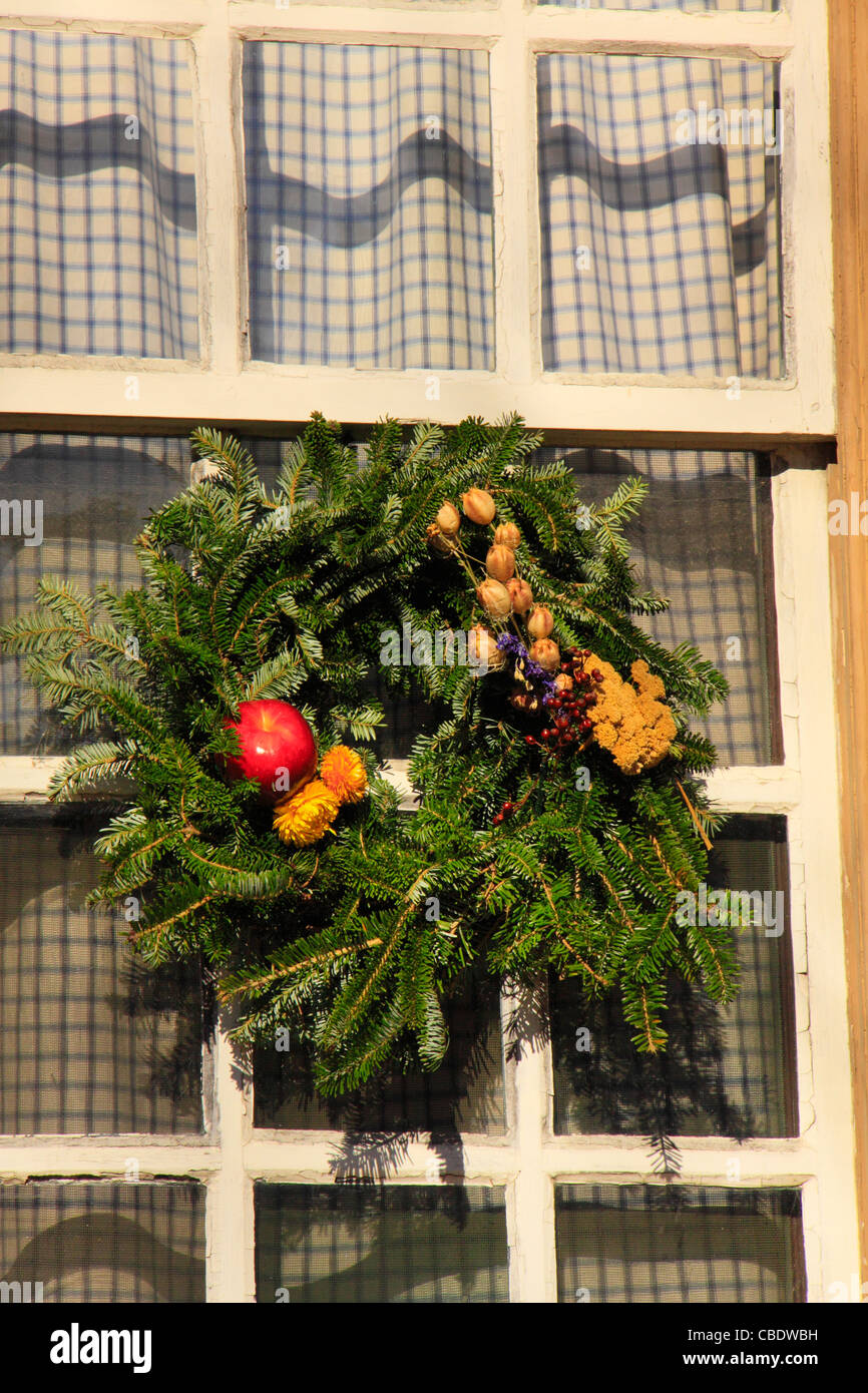 christmas wreath colonial williamsburg virginia usa stock image