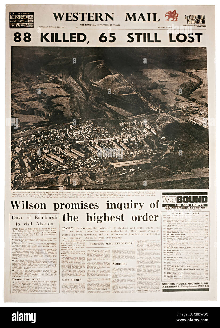 Newspaper front page for Aberfan disaster 22 October 1966 Wales UK - Stock Image
