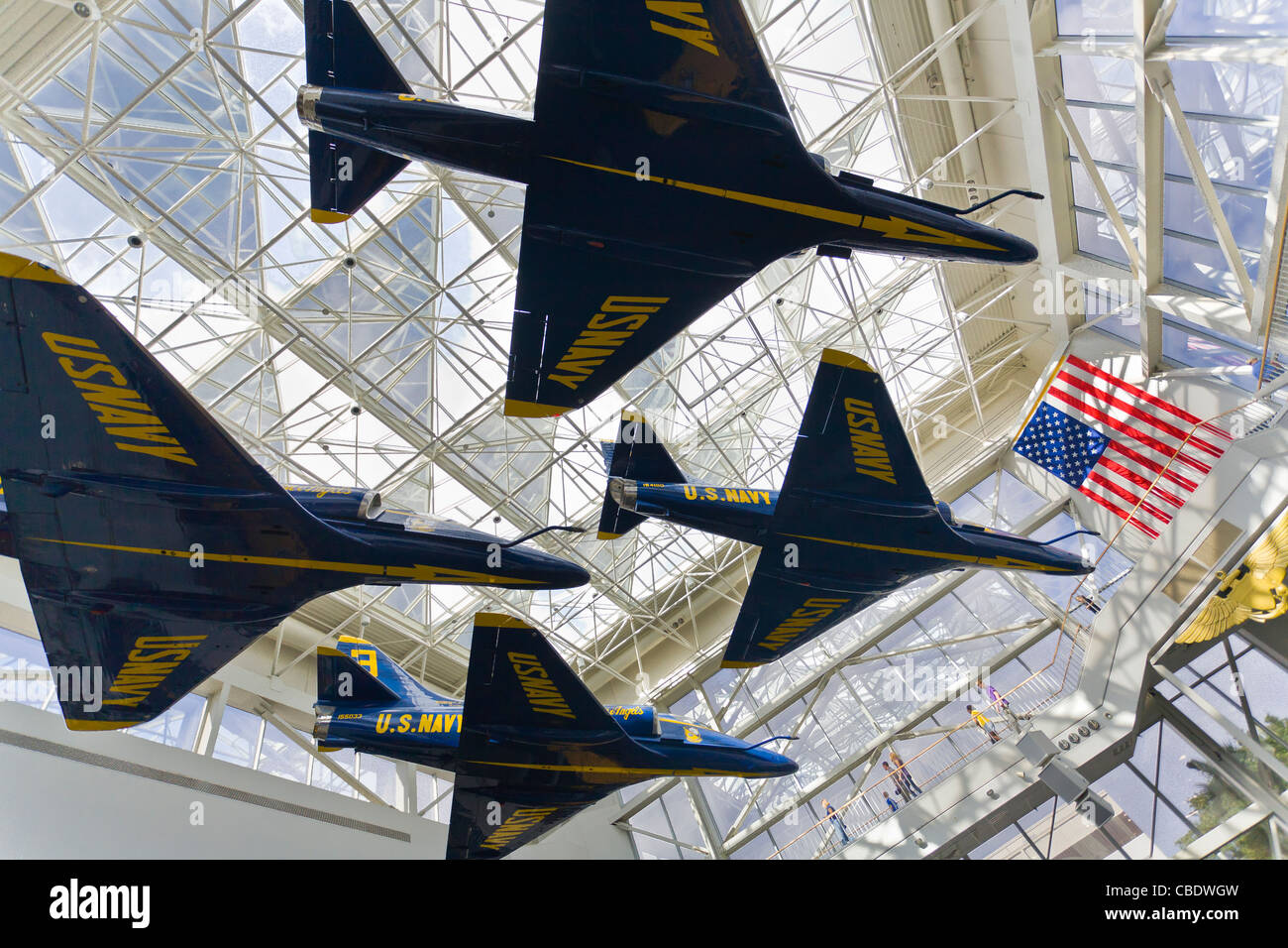 Blue Angel planes at the National Naval Aviation Museum in Pensacola Florida - Stock Image