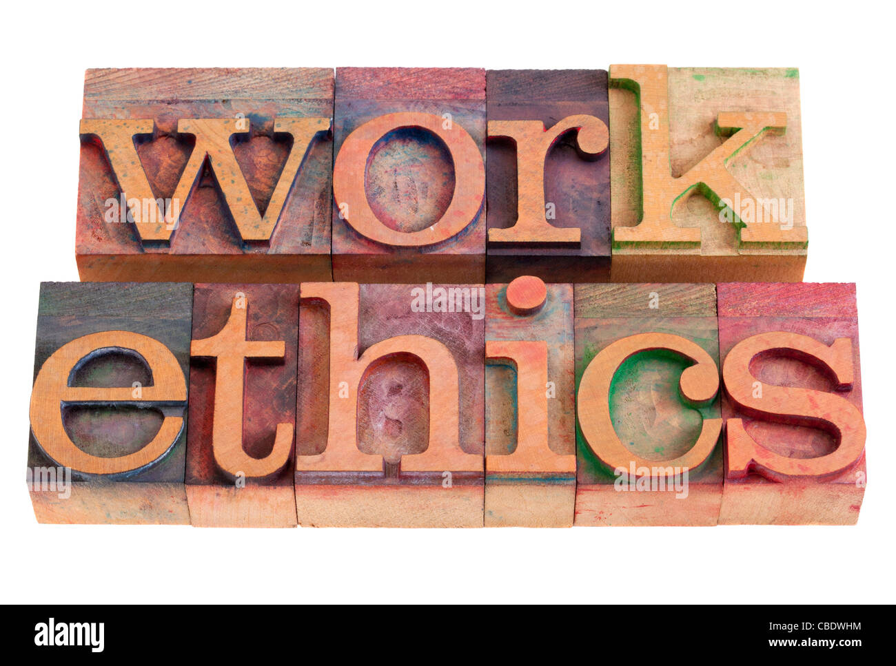 work ethics concept - words in vintage wooden letterpress printing blocks, stained by color inks, isolated on white - Stock Image