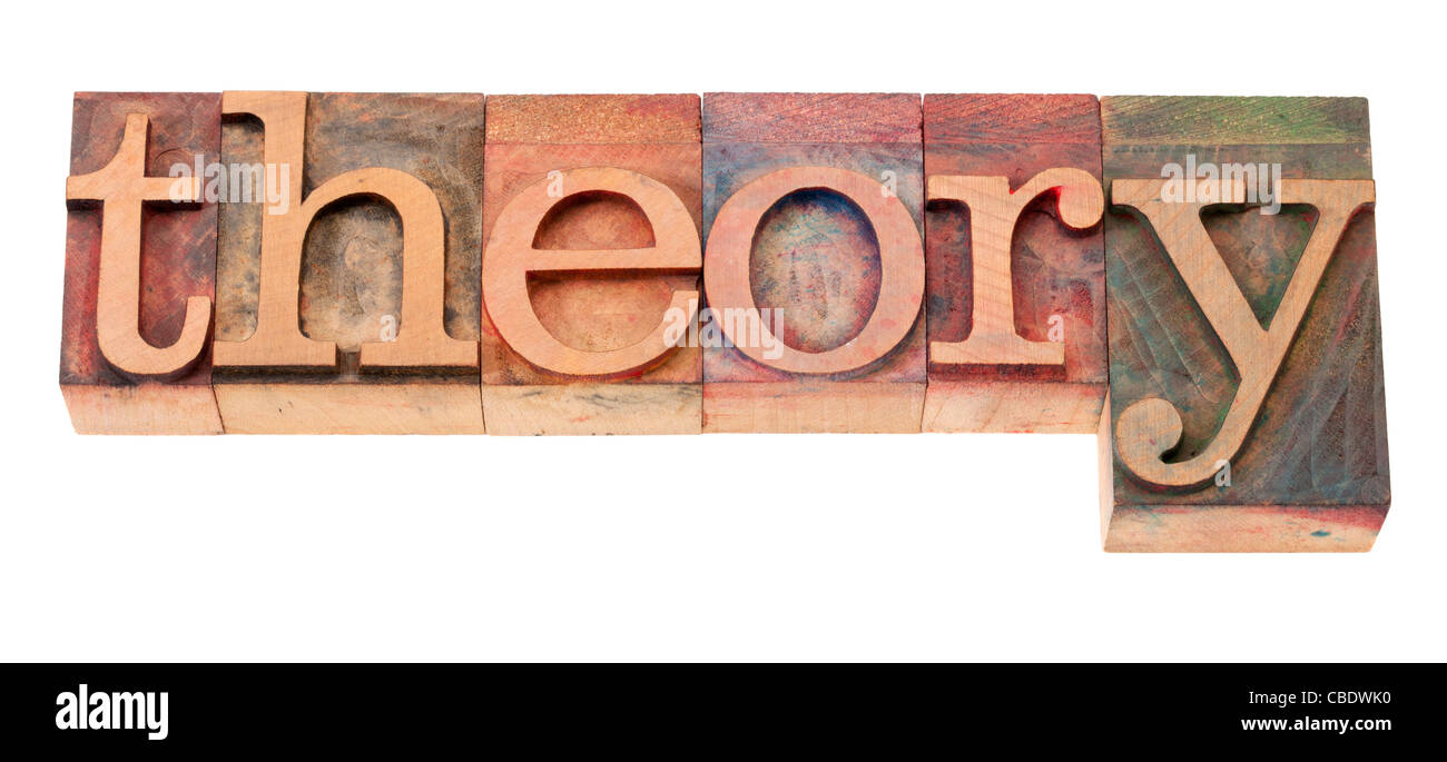 theory word in vintage wooden letterpress printing blocks, stained by color inks, isolated on white - Stock Image
