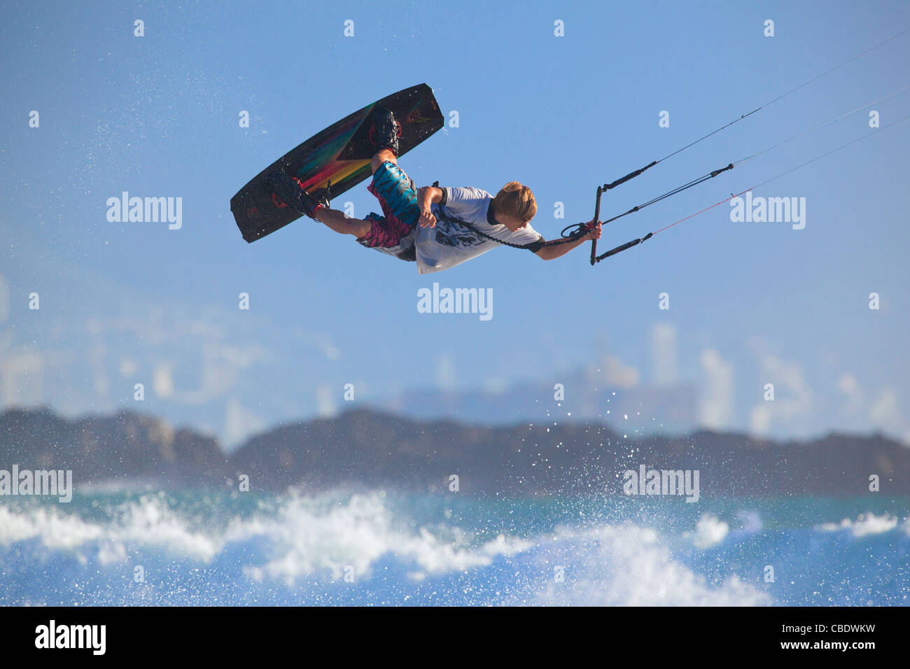 Kiteboarding in Cape Town,South Africa - Stock Image