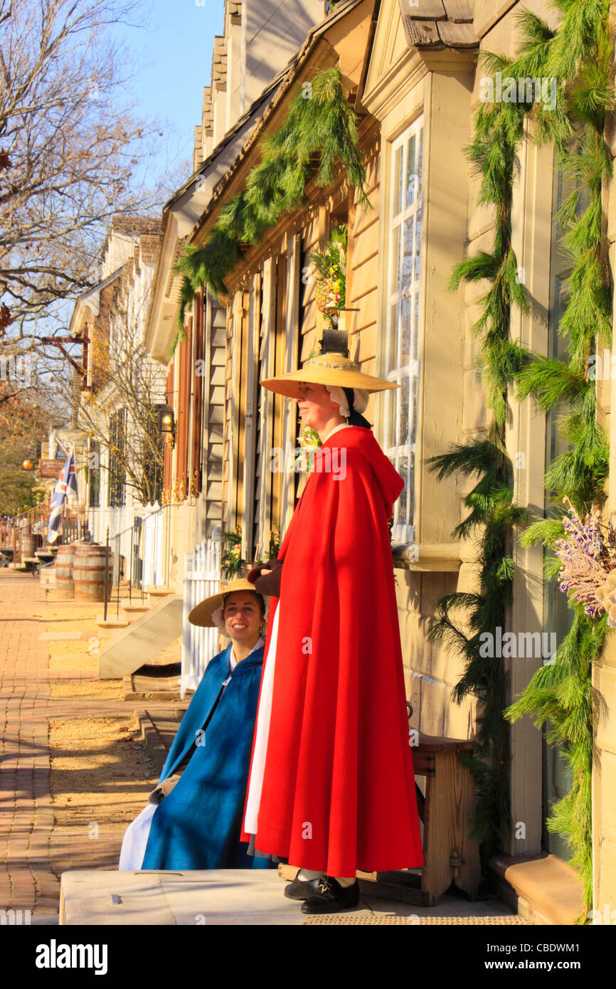 women and christmas decorations colonial williamsburg virginia usa