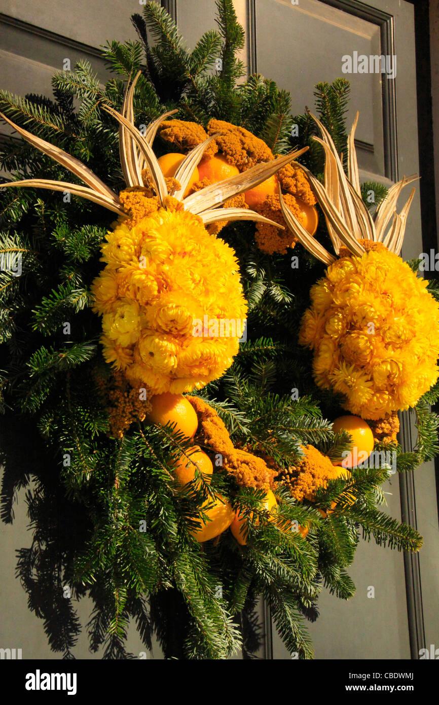 Christmas Wreath, Colonial Williamsburg, Virginia, USA Stock Photo
