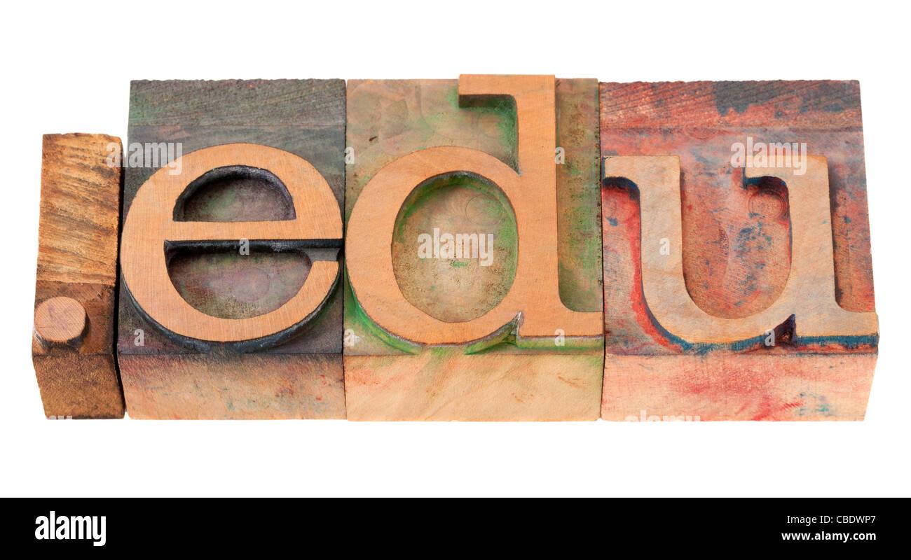 dot edu - internet domain extension for educational institutions in vintage wooden letterpress printing blocks - Stock Image