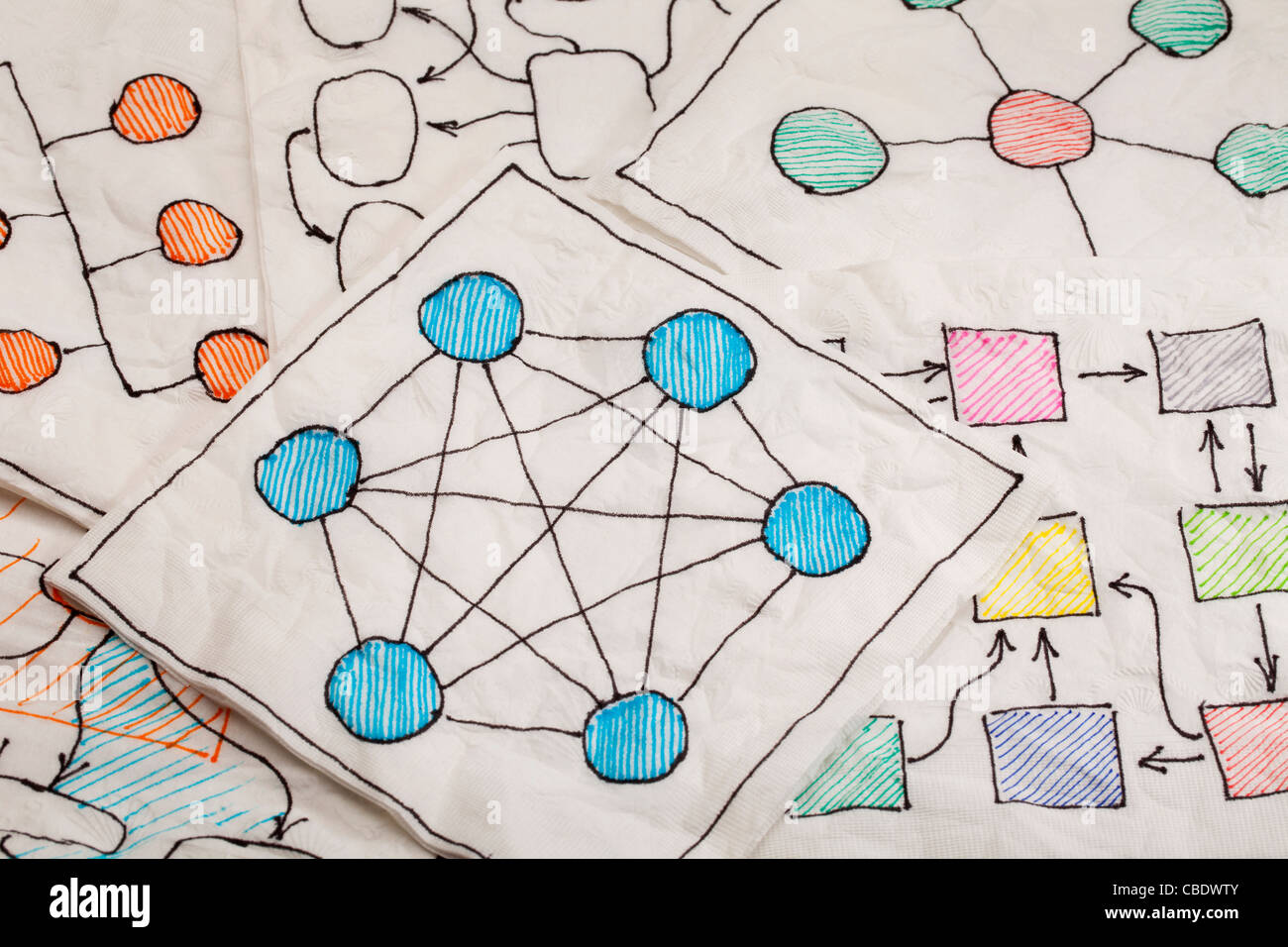 different network schematics sketched on white napkins - Stock Image