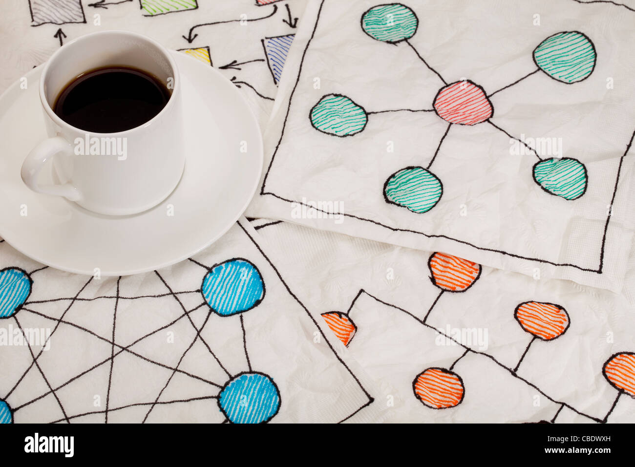 different network schematics sketched on white napkins with espresso coffee cup - Stock Image