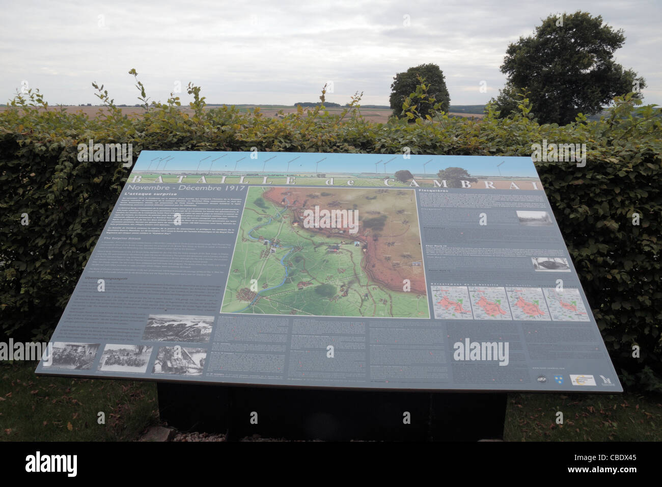 Tourist information board beside the Tank Memorial (Battle of Cambrai Nov-Dec 1917) near Flesquieres, Cambrai, France. - Stock Image