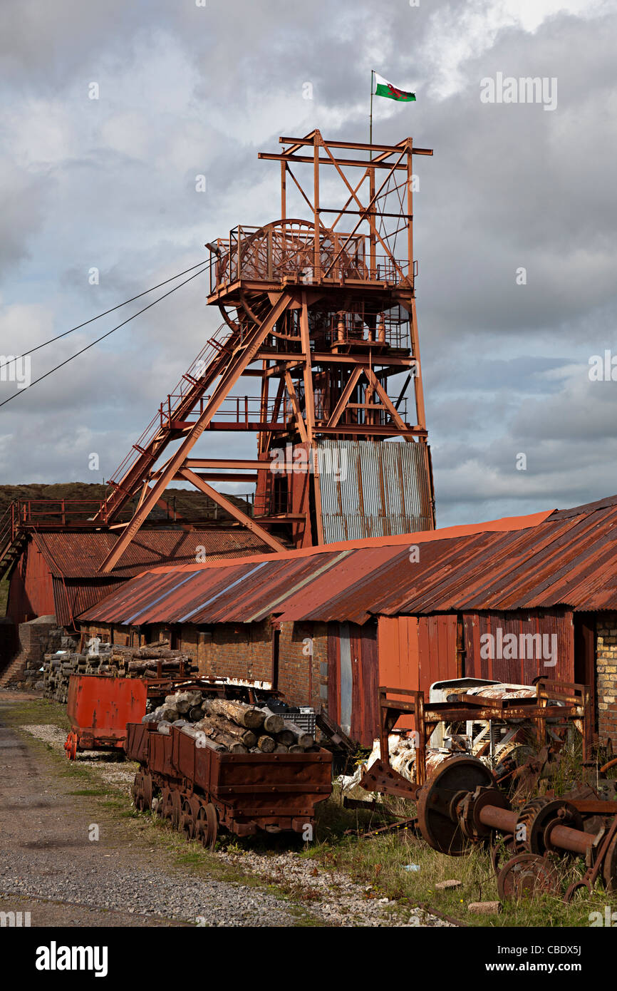 Used Trucks For Sale >> Winding gear and old trucks Big Pit coal mine Blaenavon Wales UK Stock Photo - Alamy