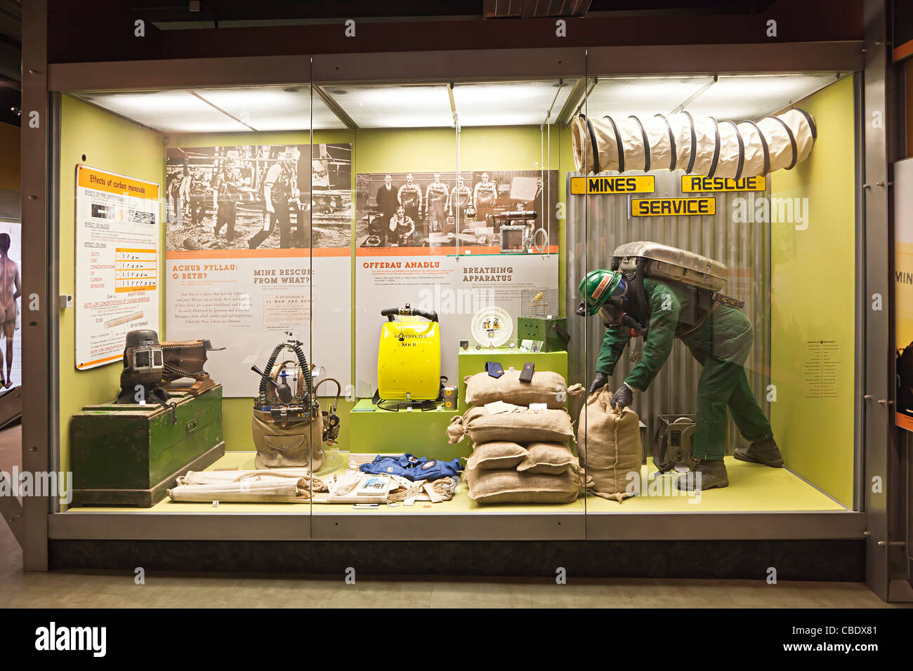 Mines Rescue Service display in glass case at Big Pit Mining Museum Blaenavon Wales UK - Stock Image