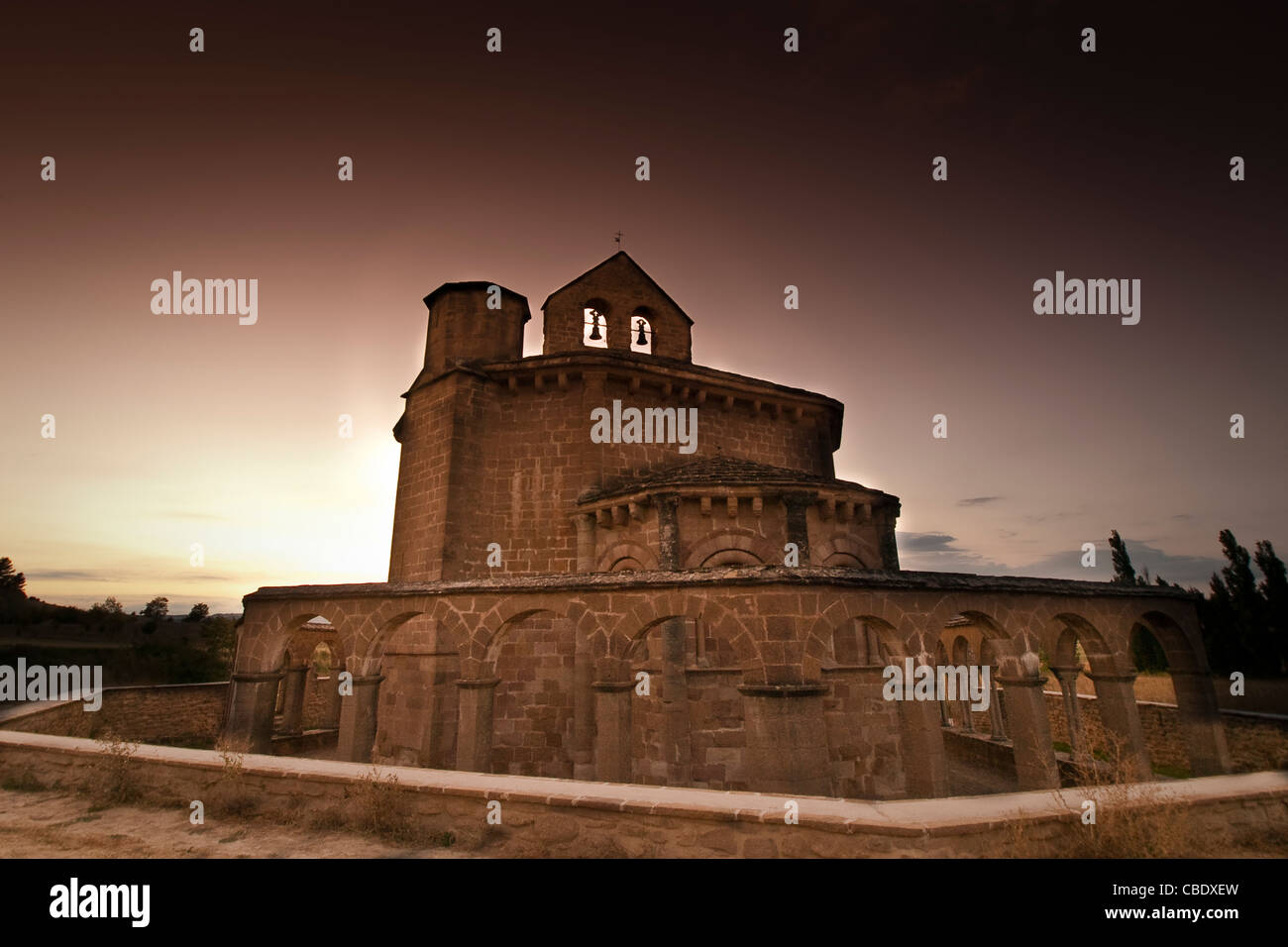 Romanesque church of Santa Maria de Eunate, 12th century, Road of Santiago, Kingdom of Navarre, Spain, Europe. - Stock Image
