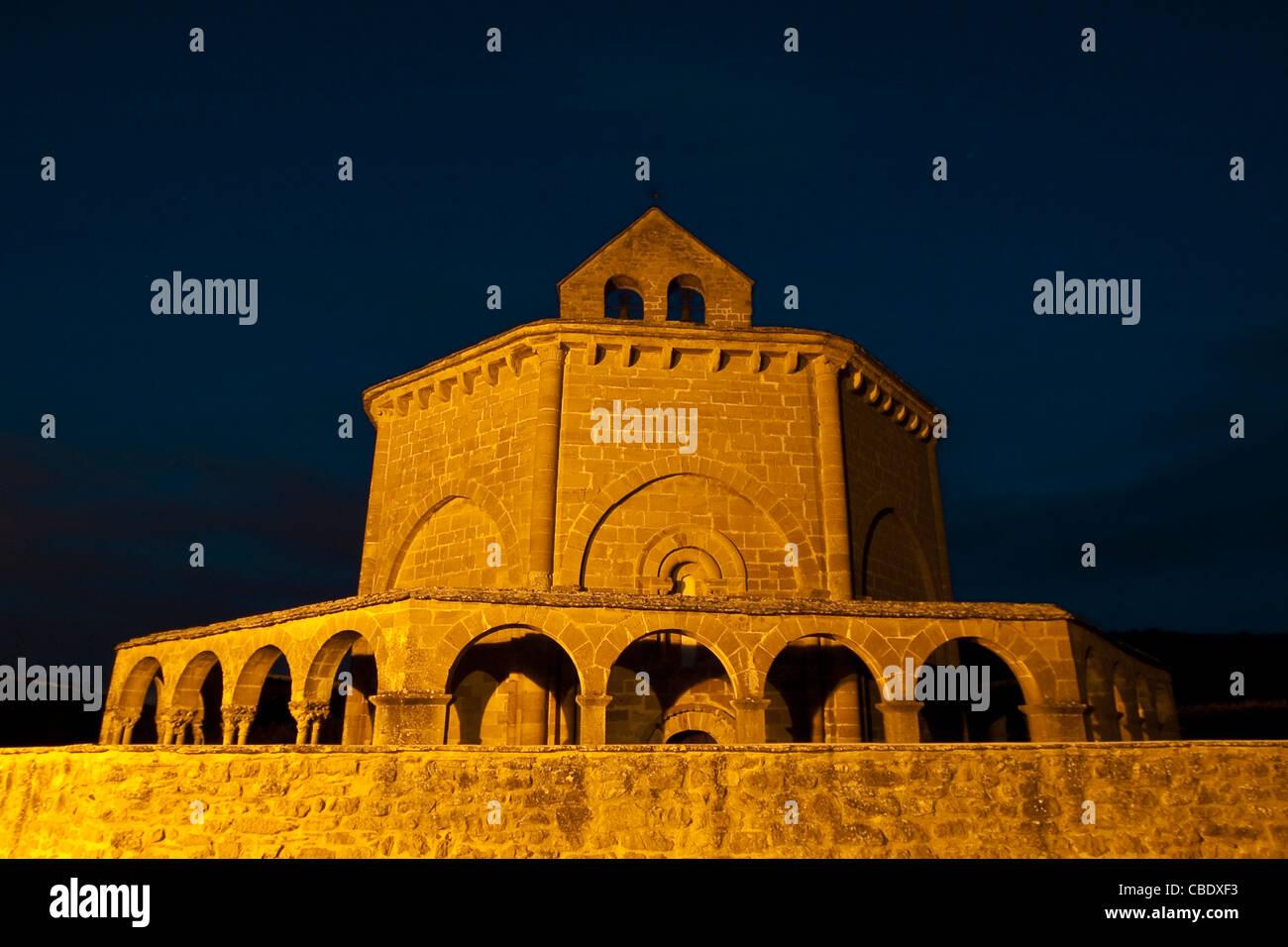 Romanesque church of Santa Maria de Eunate, 12th century, Kingdom of Navarre, Road of Santiago, Spain, Europe - Stock Image