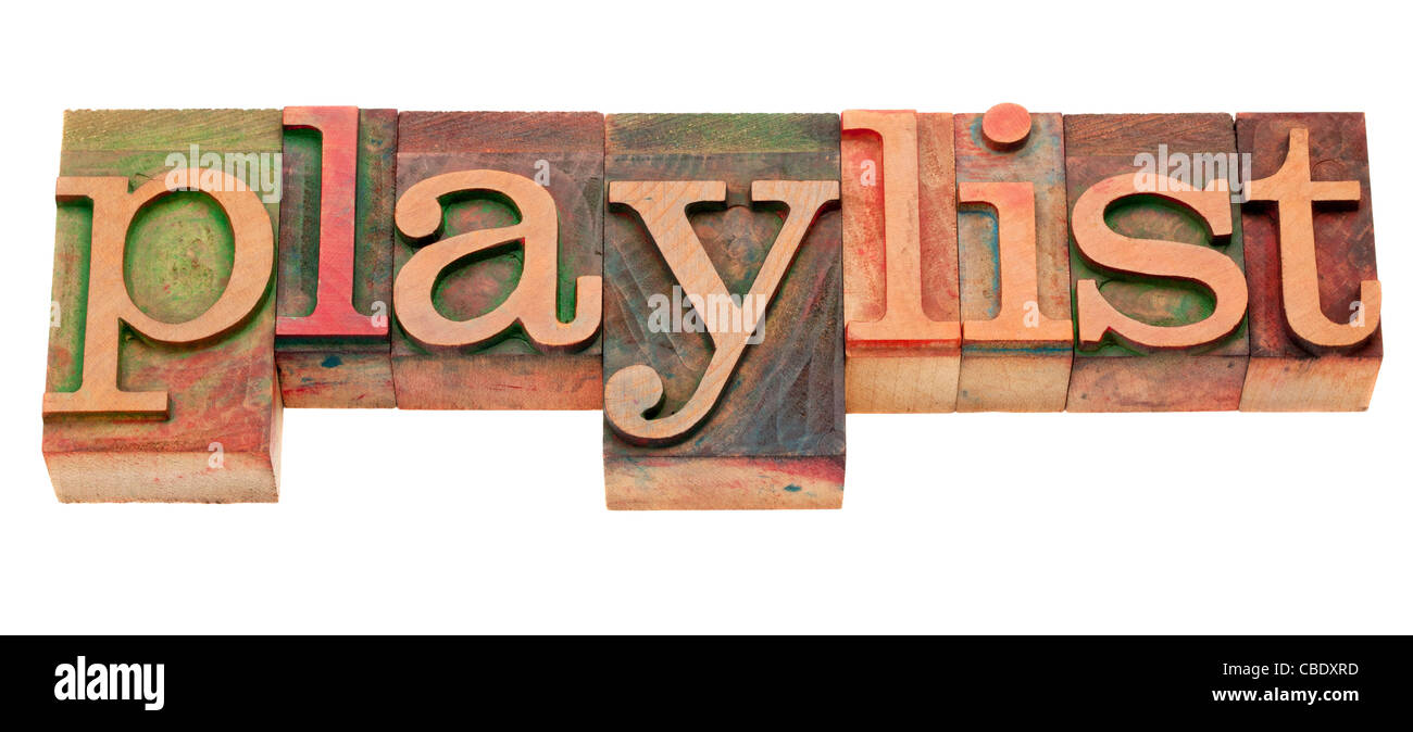playlist word in vintage wooden letterpress printing blocks, stained by color inks, isolated on white - Stock Image