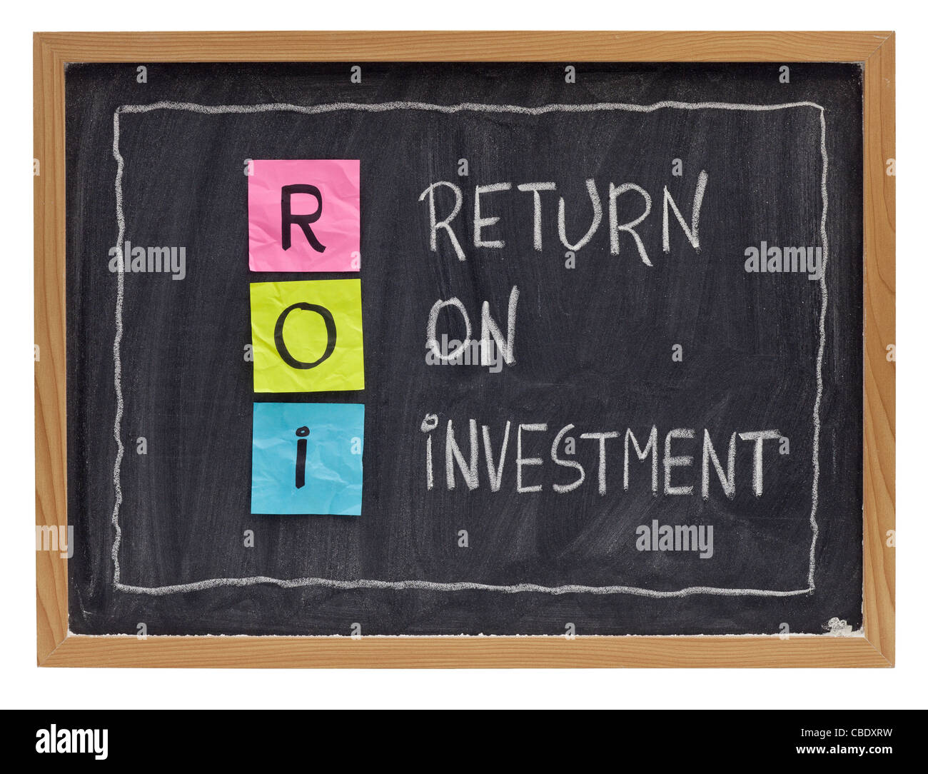 ROI - return on investment acronym explained with color sticky notes and white chalk handwriting on blackboard - Stock Image