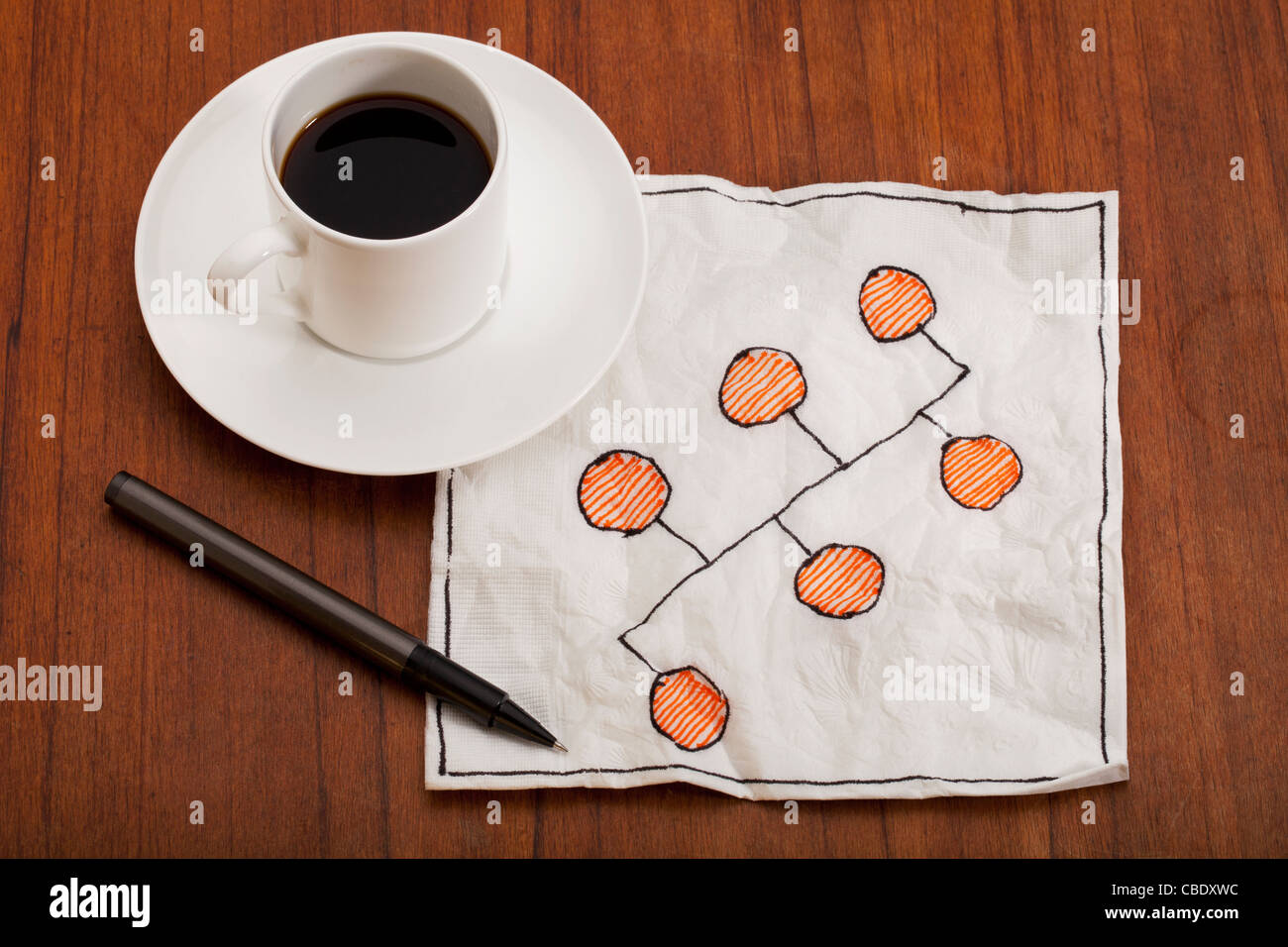 bus or backbone network model - napkin doodle with espresso coffee cup on table - Stock Image