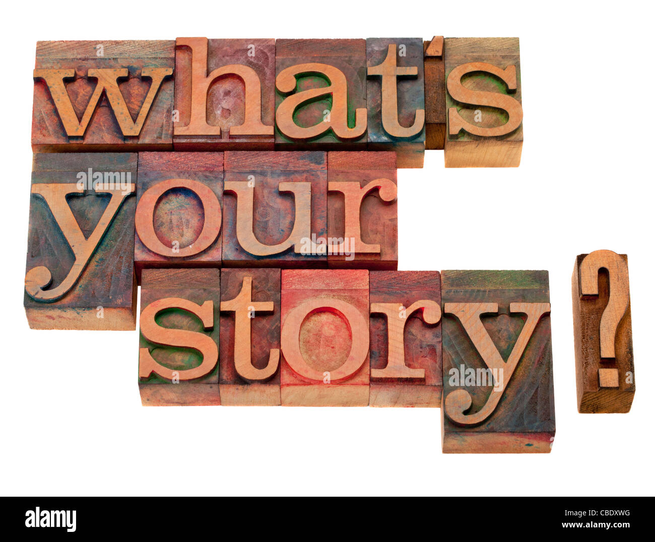 what is your story question in vintage wooden letterpress printing blocks, stained by color inks, isolated on white - Stock Image