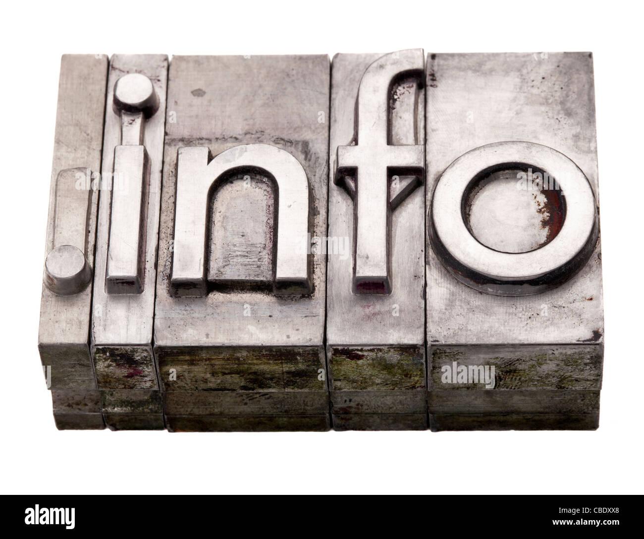 dot info internet information resources domain extension in vintage grunge metal letterpress printing blocks - Stock Image