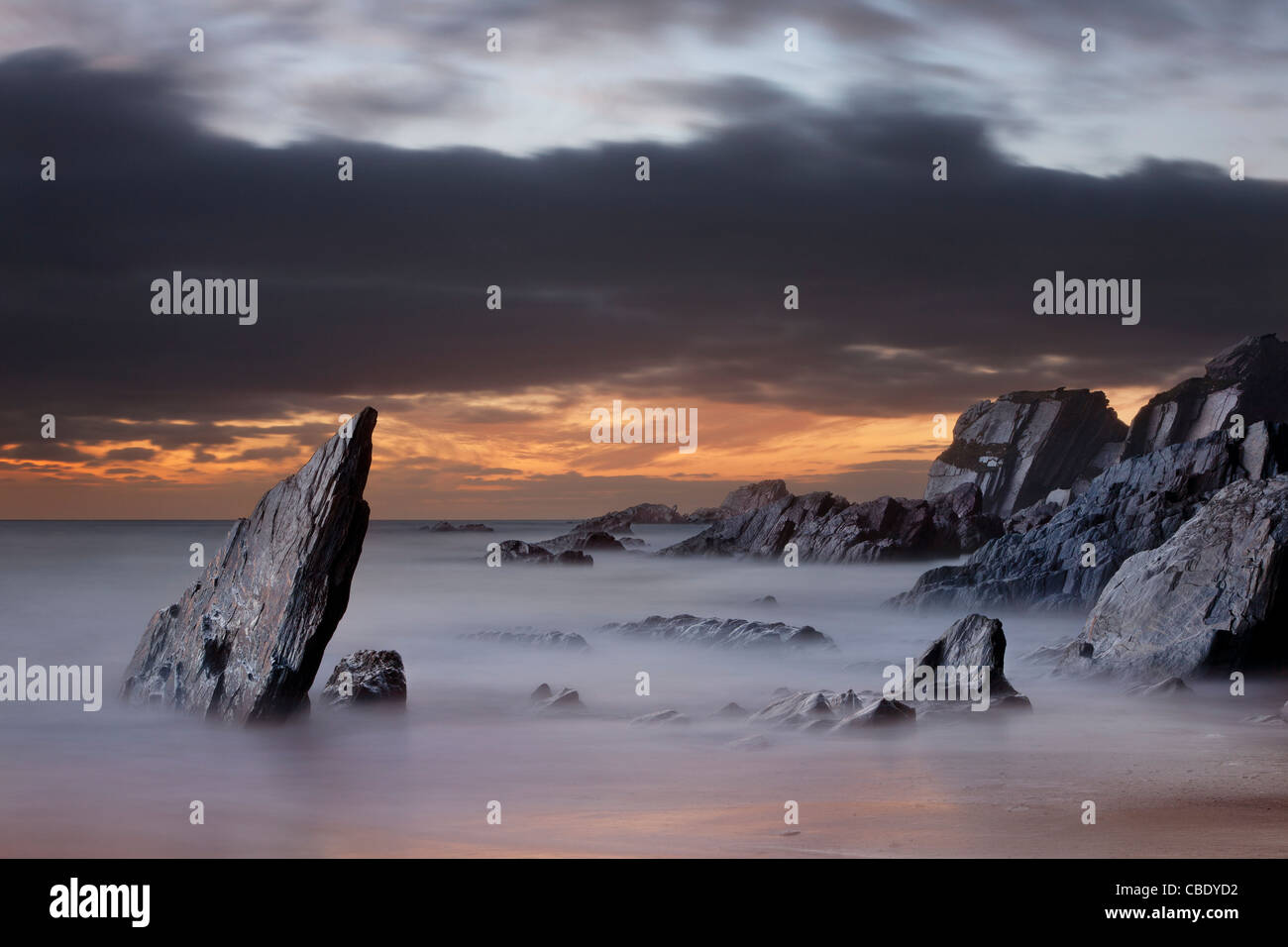 Rocky Coast at Ayrmer Cove in Devon - Stock Image