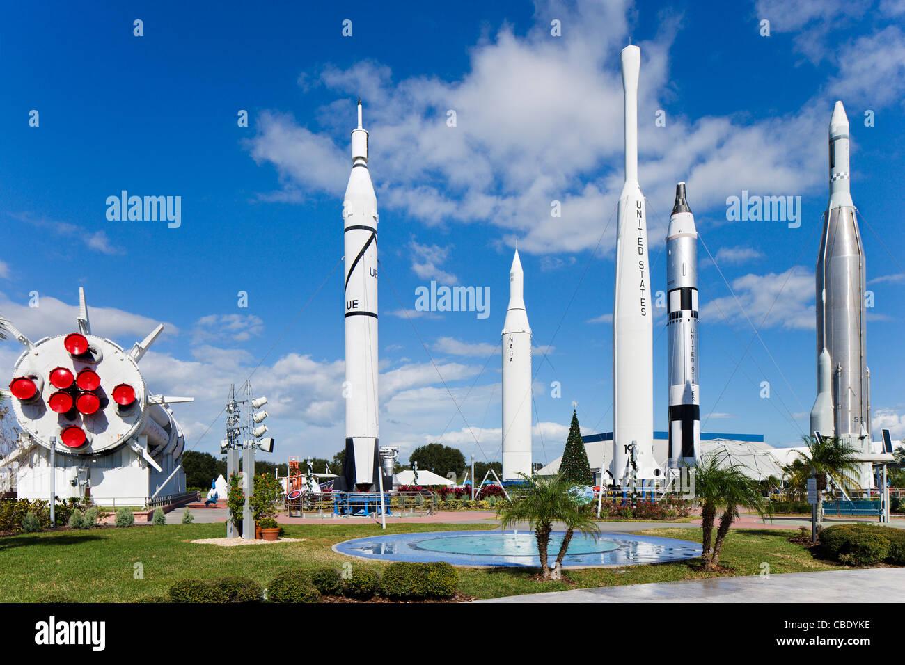 The Rocket Garden, Kennedy Space Center Visitor Complex, Merritt Island, Florida, USA - Stock Image
