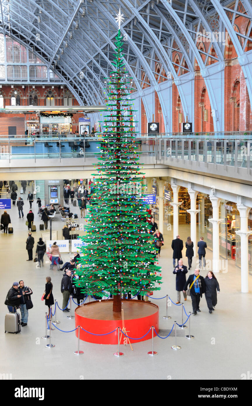 St Pancras International station with Christmas tree formed from Lego bricks Camden London England UK - Stock Image