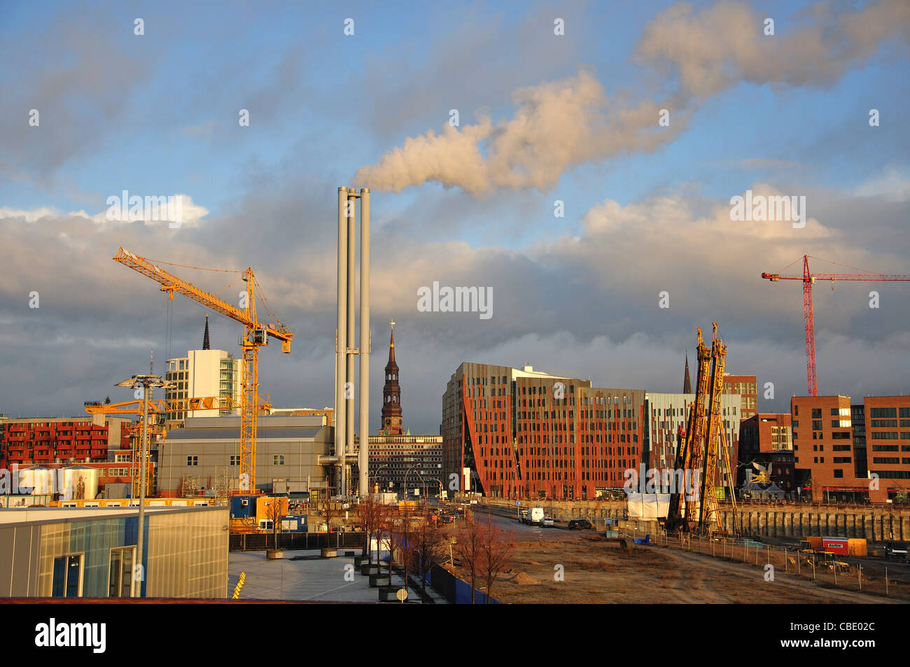 City view from harbour, Hamburg, Hamburg Metropolitan Region, Federal Republic of Germany - Stock Image