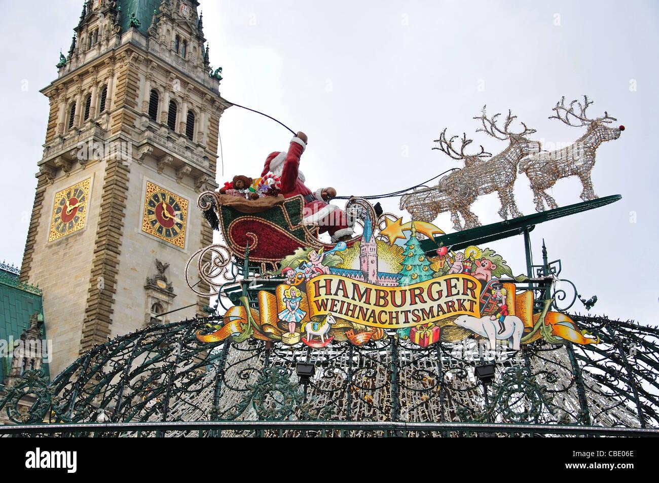Entrance sign to Christmas Market, Rathausplatz, Hamburg, Hamburg Metropolitan Region, Federal Republic of Germany - Stock Image