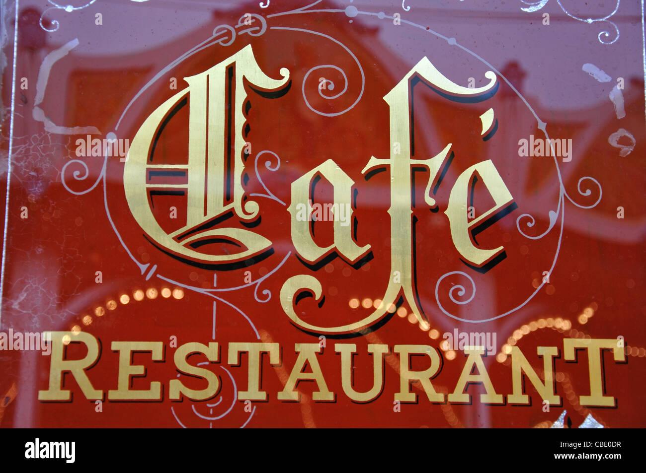 Cafe sign at Christmas Market, Rathausplatz, Hamburg, Hamburg Metropolitan Region, Federal Republic of Germany - Stock Image