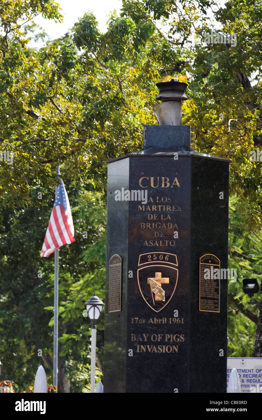 A man walks past the Bay of Pigs memorial in Miami, Florida's little Havana neighborhood commemorates the 17 - Stock Image