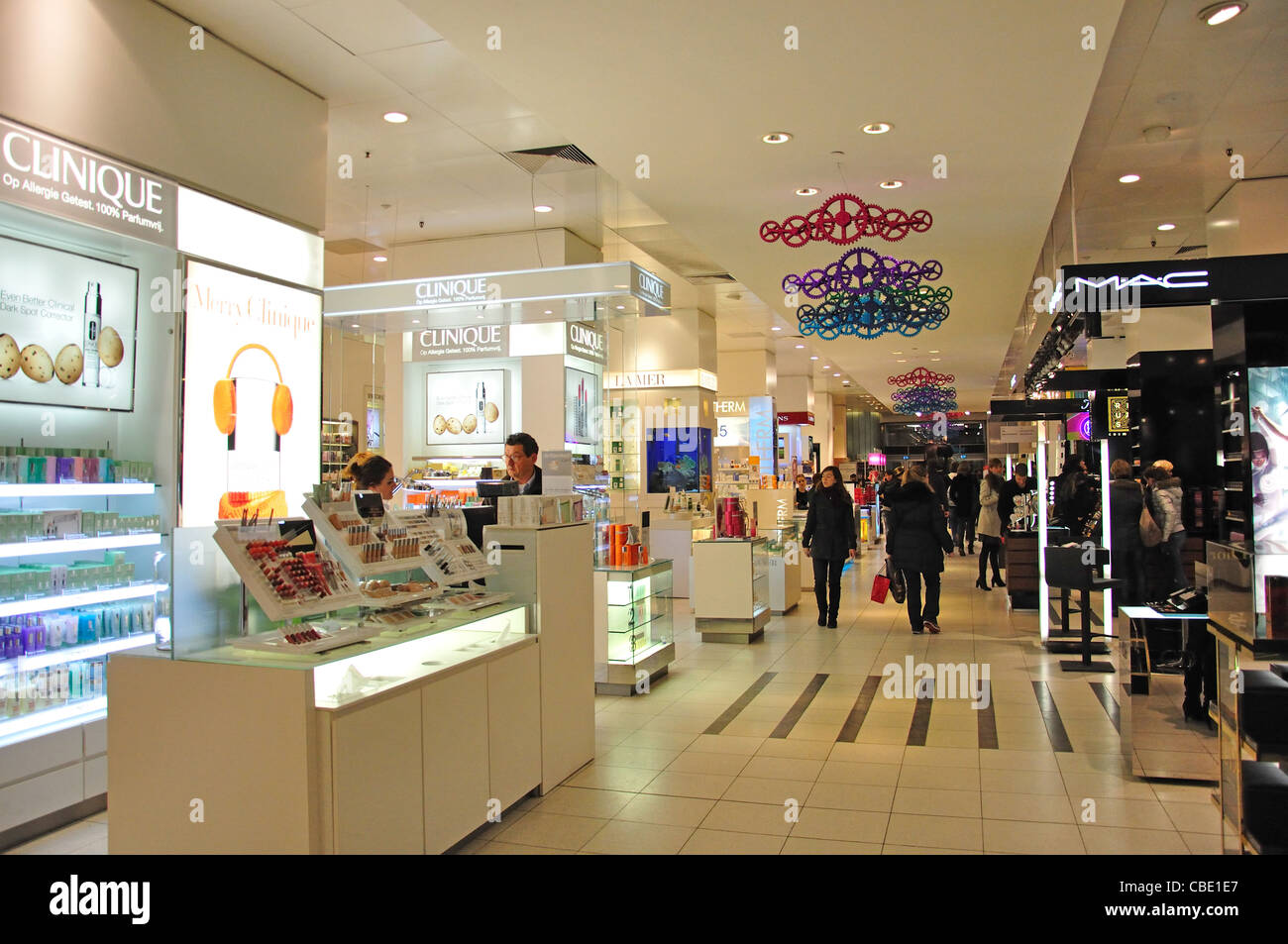 Interior of De Bijenkorf department store, Damrak, Amsterdam, Noord-Holland, Kingdom of the Netherlands - Stock Image