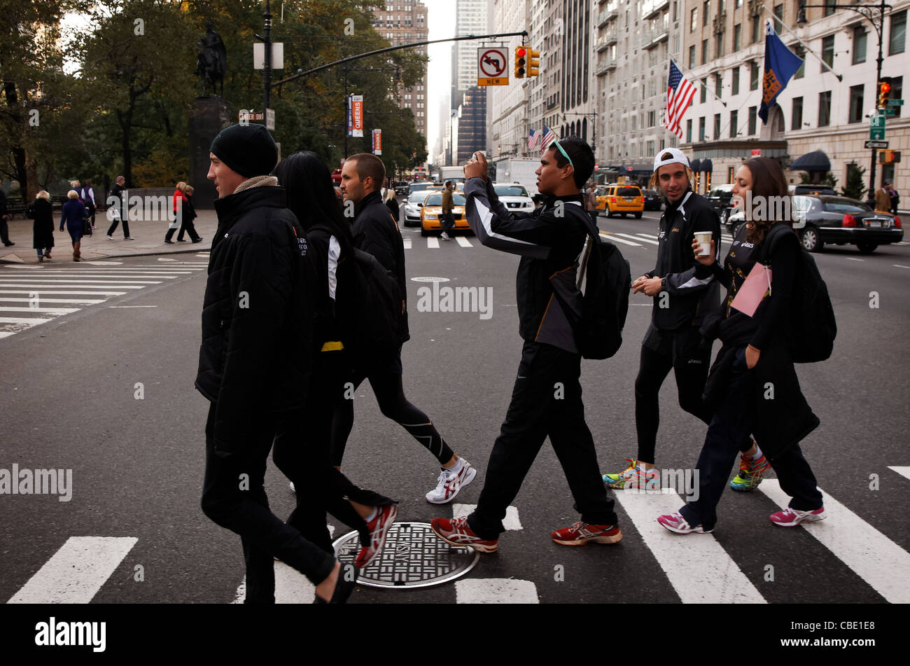 Australian Indigenous Marathon Project team member Reggie Smith from Alice Springs get his first look at New York - Stock Image