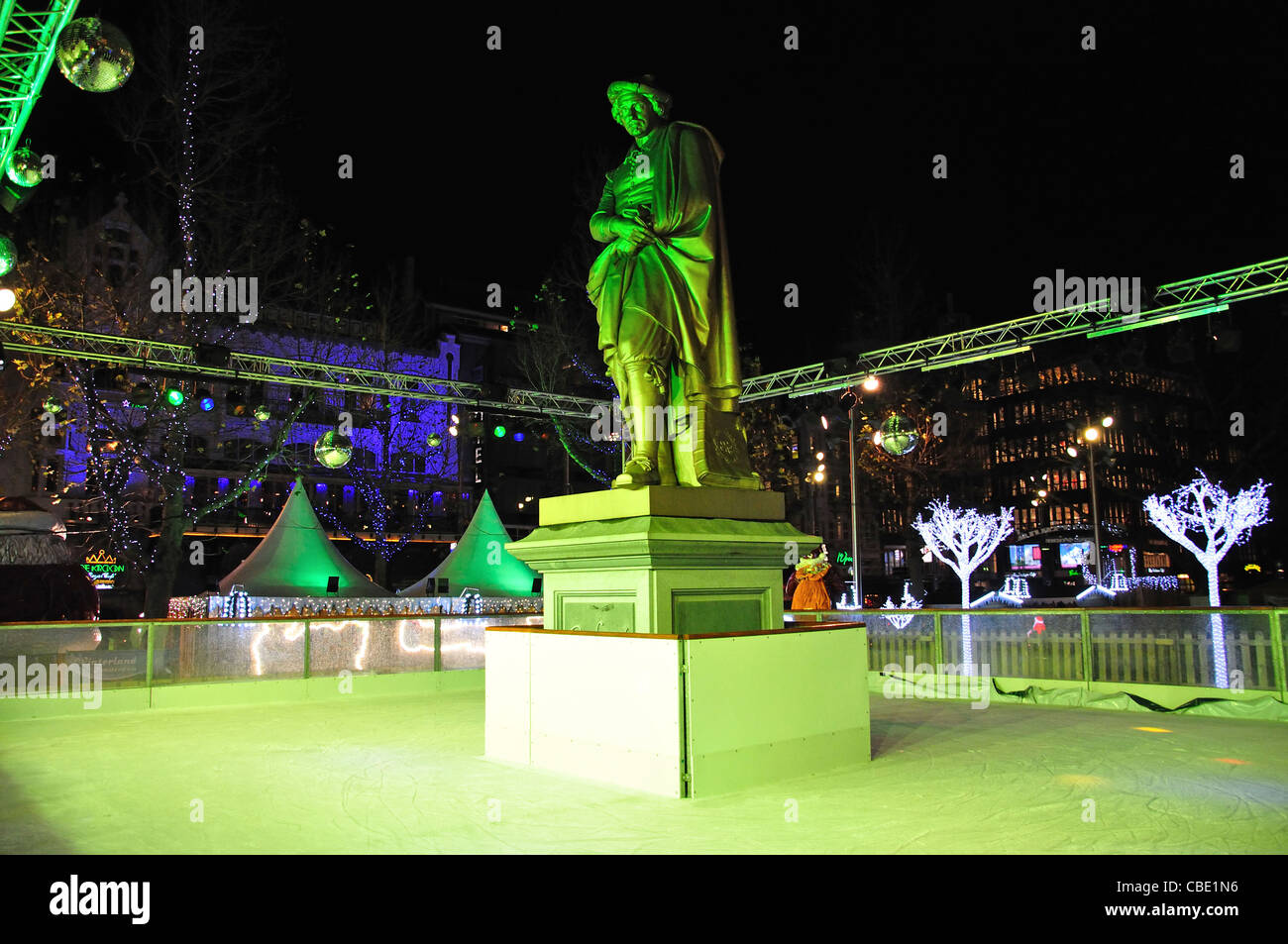 Ice-rink at Christmas market, Rembrandtplein, Amsterdam, Noord-Holland, Kingdom of the Netherlands - Stock Image