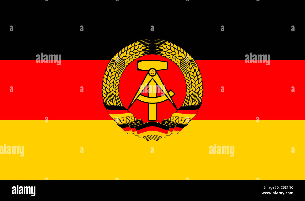 National flag of the German Democratic Republic GDR. - Stock Image
