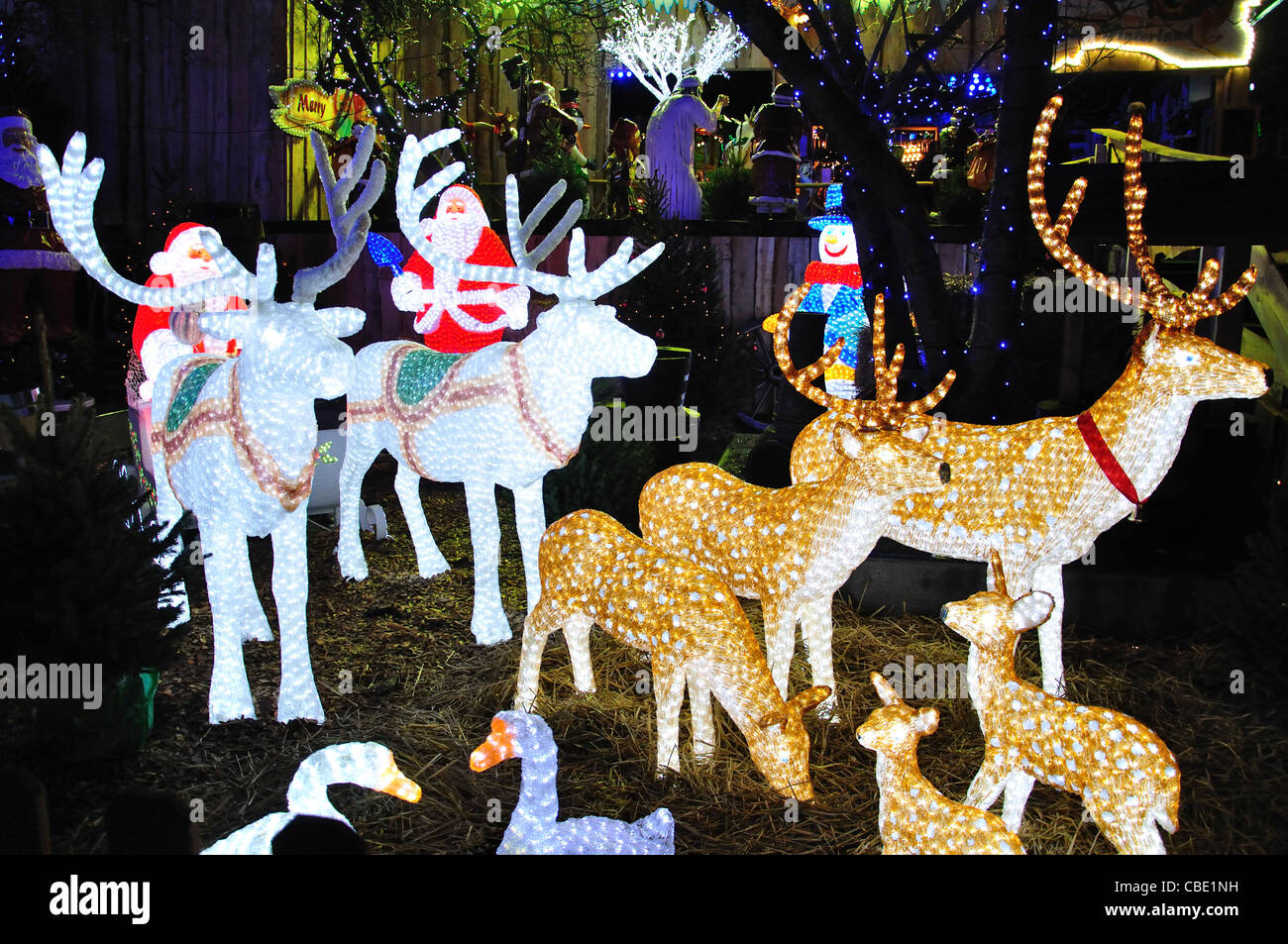 Crystal LED reindeer decorations at Christmas market, Rembrandtplein, Amsterdam, Noord-Holland, Kingdom of the Netherlands - Stock Image