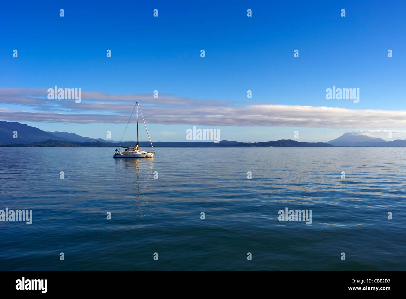 Yacht moored in the Whitsunday Islands North Queensland Australia - Stock Image