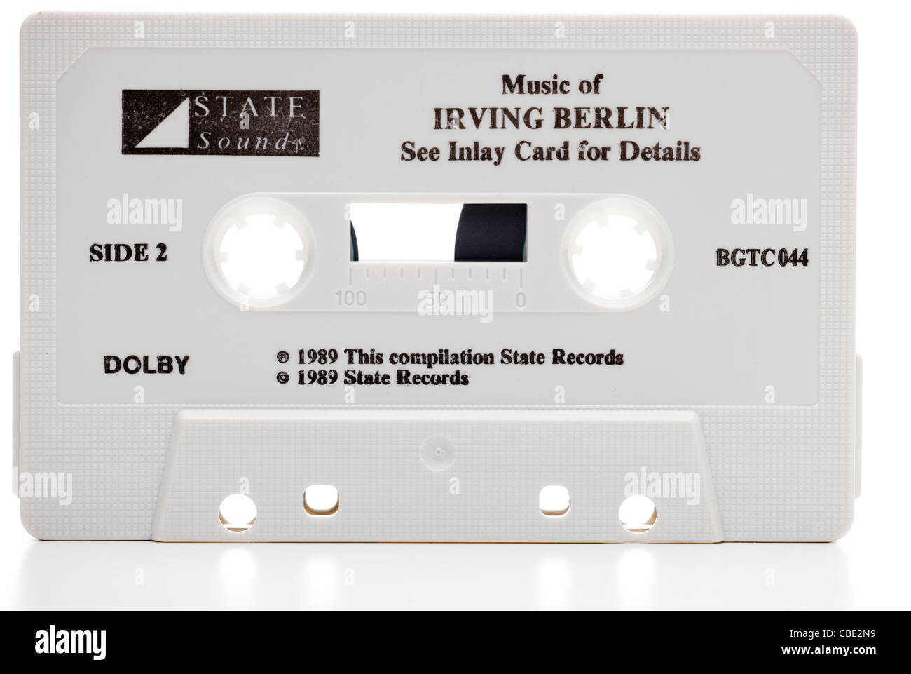 Old cassette music tape from State Sounds displaying the music of Irving Berlin Stock Photo