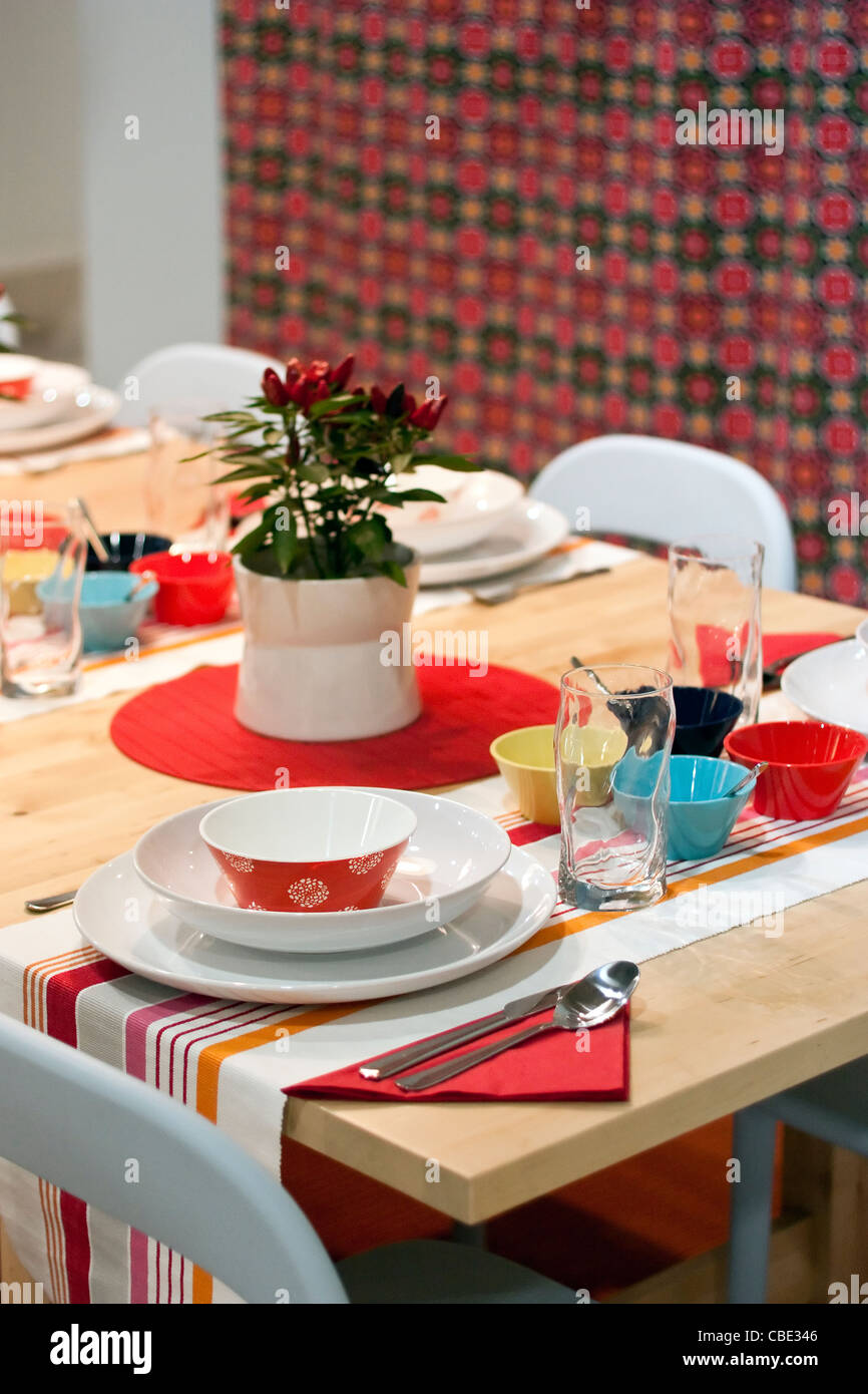 White Orange Red Yellow Turquoise And Blue Decorated Dining Table Stock Photo Alamy