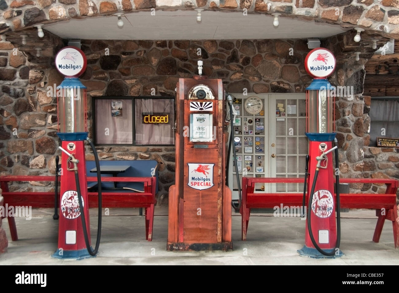 Historic Route 66 traffic Sign National Highway Arizona American Hotel Fuel Gas Station - Stock Image