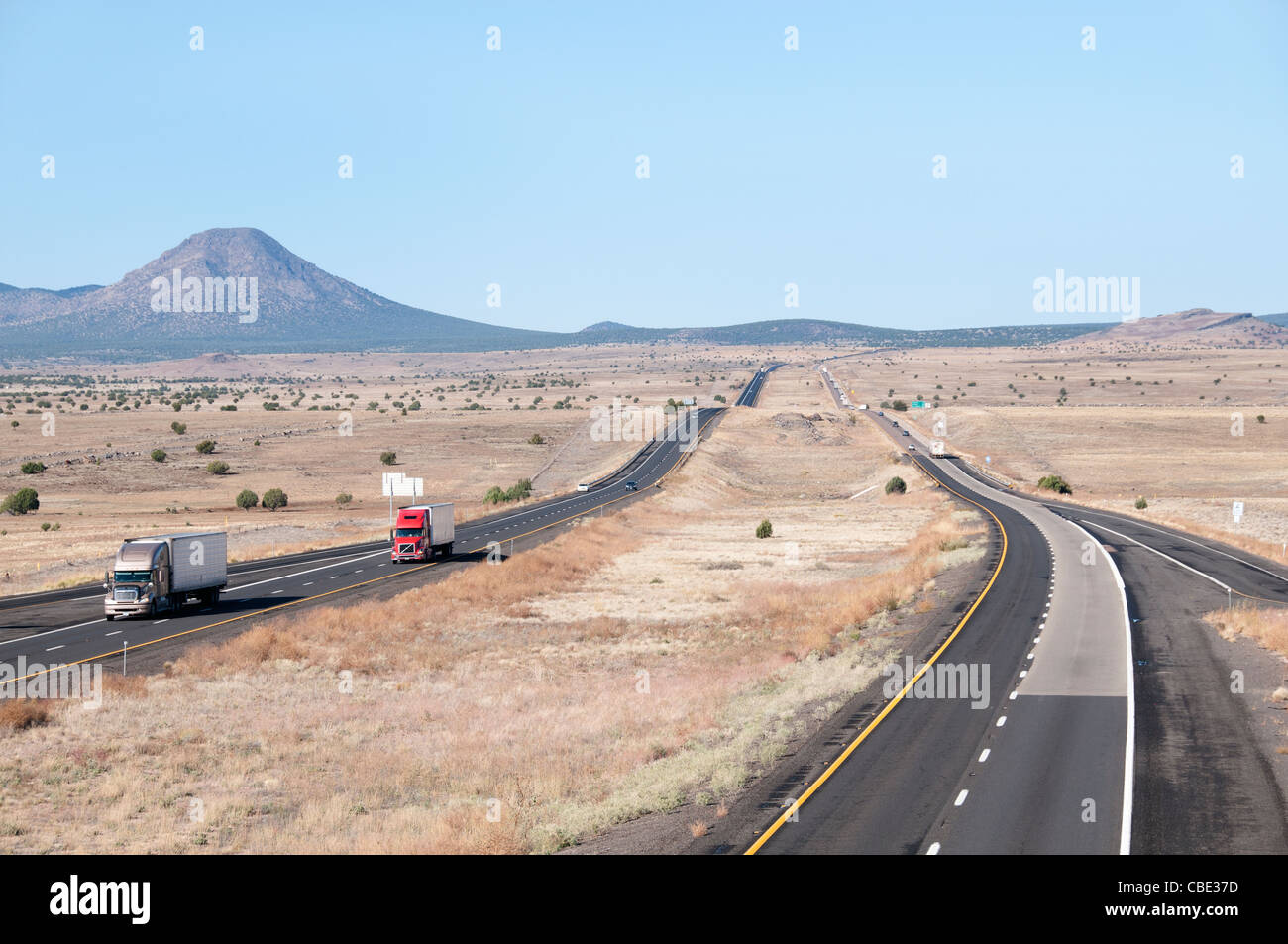 Interstate 40 Historic Route 66 traffic Sign National Highway Arizona American - Stock Image