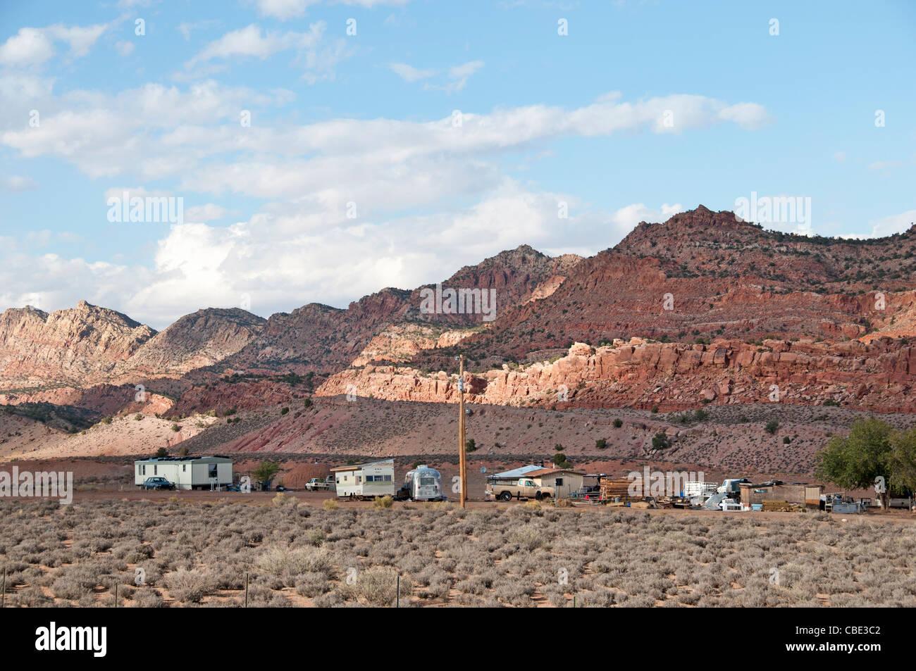 Village Mobile Home Trailer Park near Page Arizona United States - Stock Image