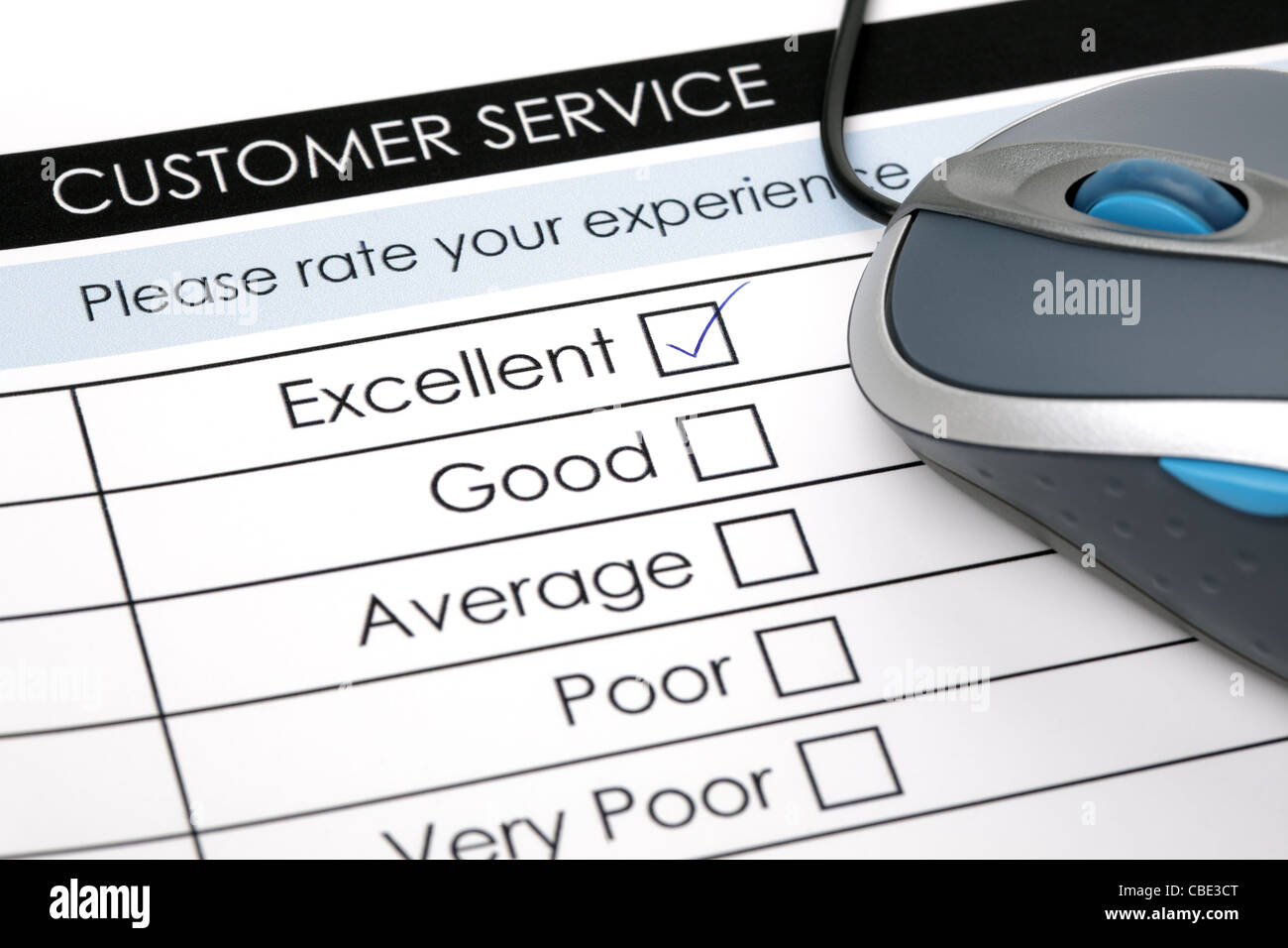 Online customer service satisfaction survey - Stock Image
