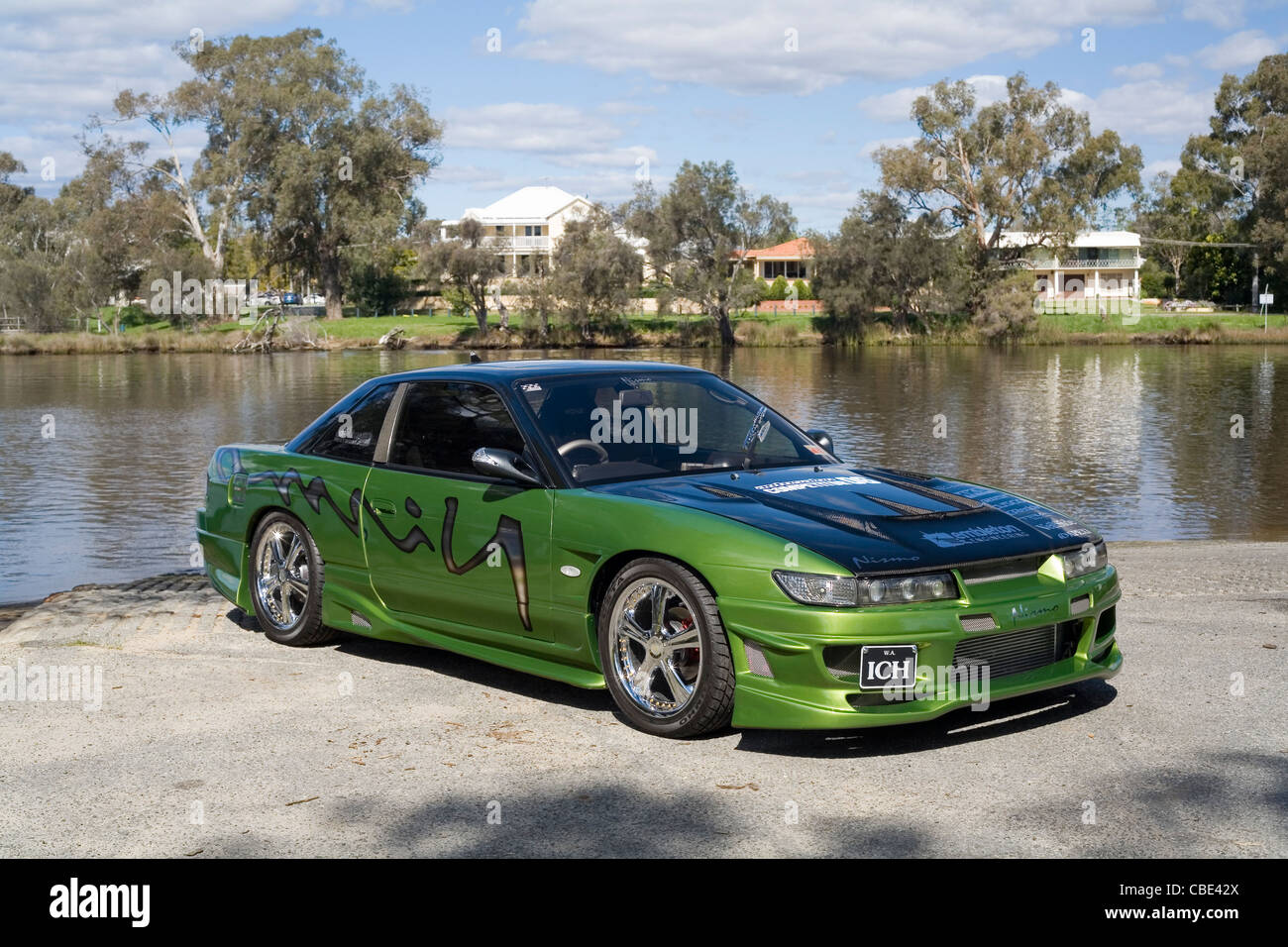 Modified And Custom Nissan 180SX S13 Silvia Boy Racer Sports Car   Stock  Image