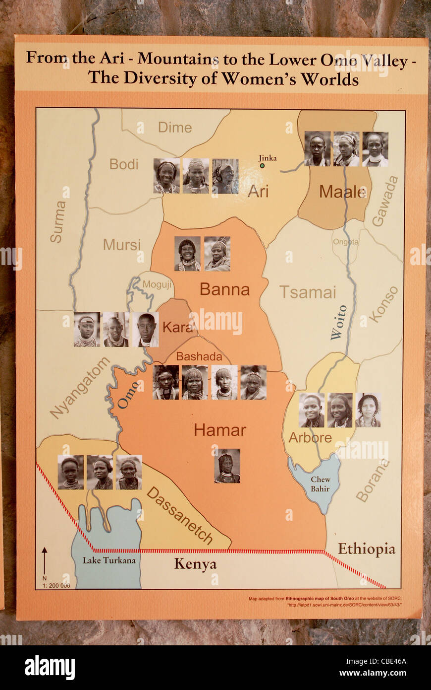 Anthropological map of the Geographical distribution of the various tribes of Ethiopia Omo Vally region - Stock Image