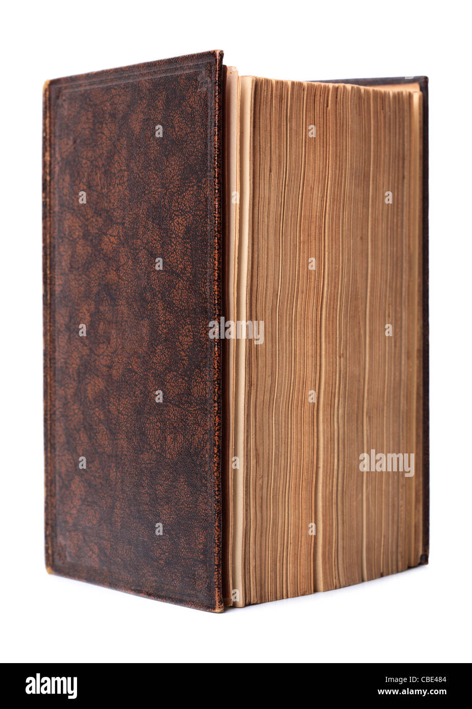 Isolated antique brown hardback book - Stock Image