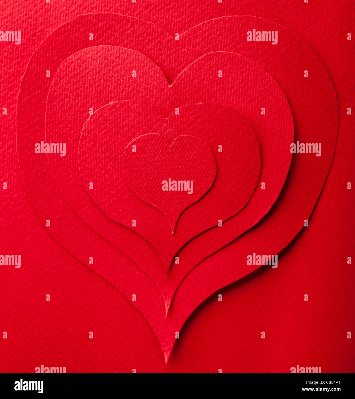 Concentric Red Paper Hearts Close Up - Stock Image
