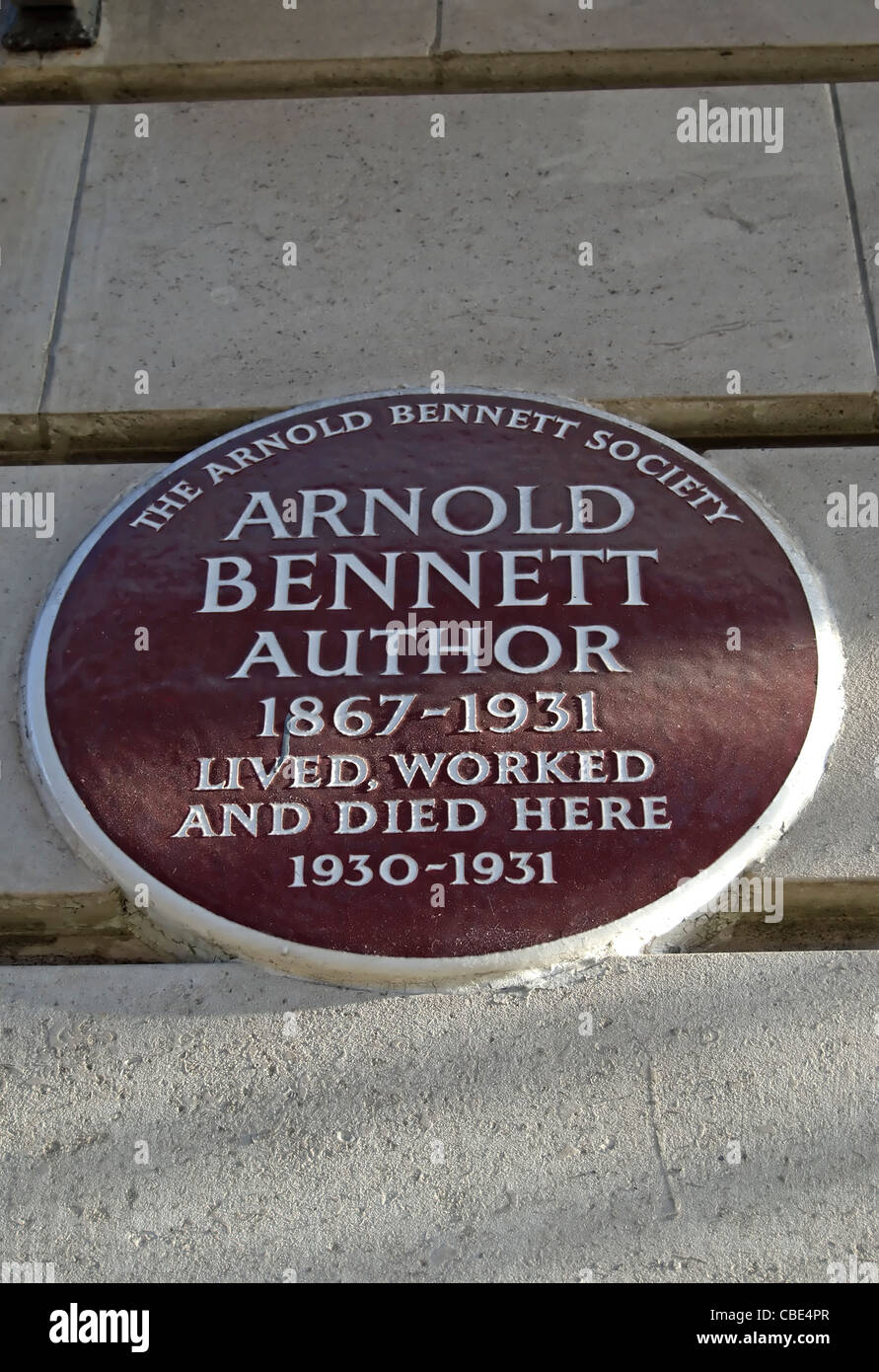arnold bennett society plaque marking a home of the author at chiltern court, baker street, london, england - Stock Image