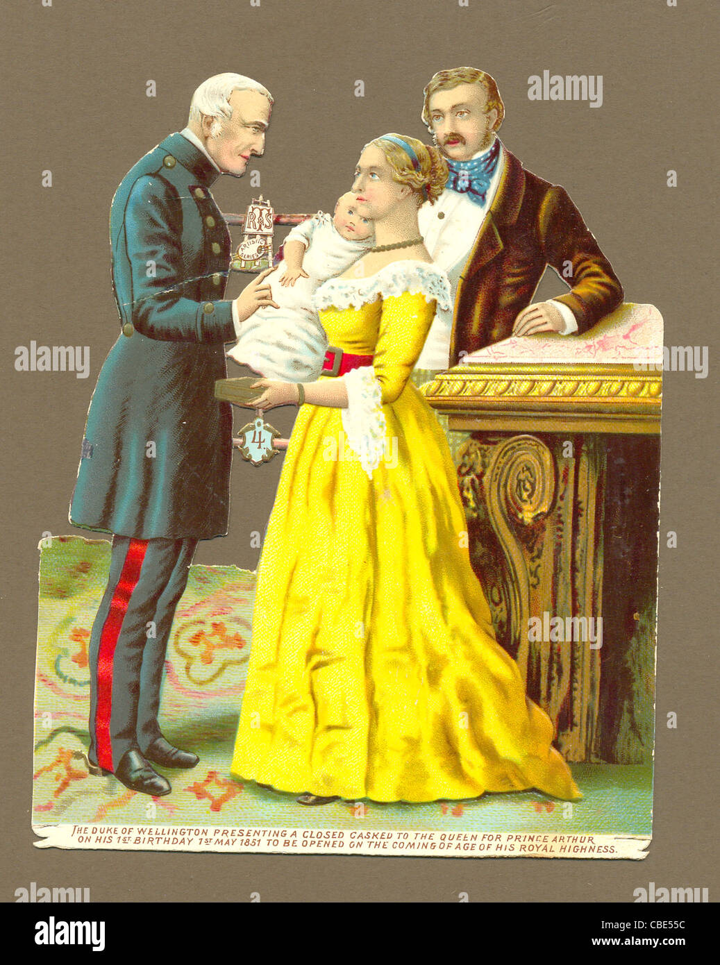 Chromolithographed die cut scrap of the Duke of Wellington in 1851 presenting a casket to Queen Victoria - Stock Image