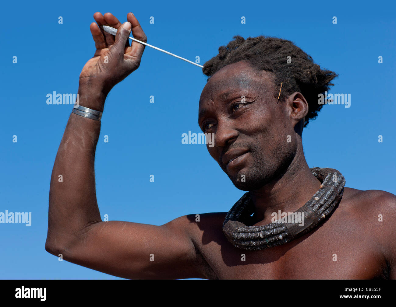 Himba Man With Traditional Hairstyle, Angola - Stock Image