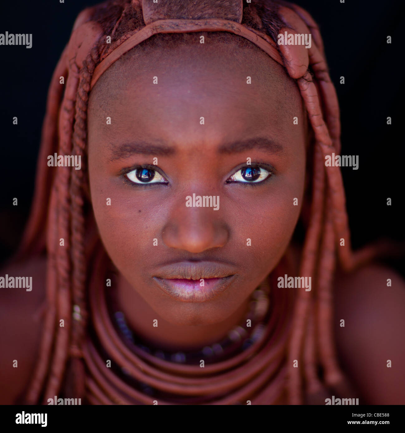 Himba Woman With Traditional Hairstyle, Angola - Stock Image
