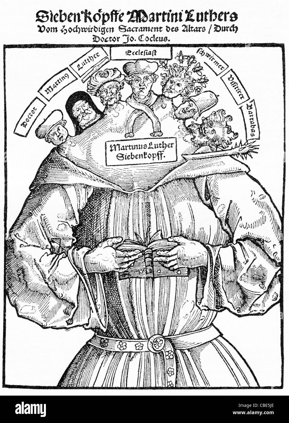 This print was published in 1529 and names Luther as a seven-headed monster, with each head representing a contradictory - Stock Image