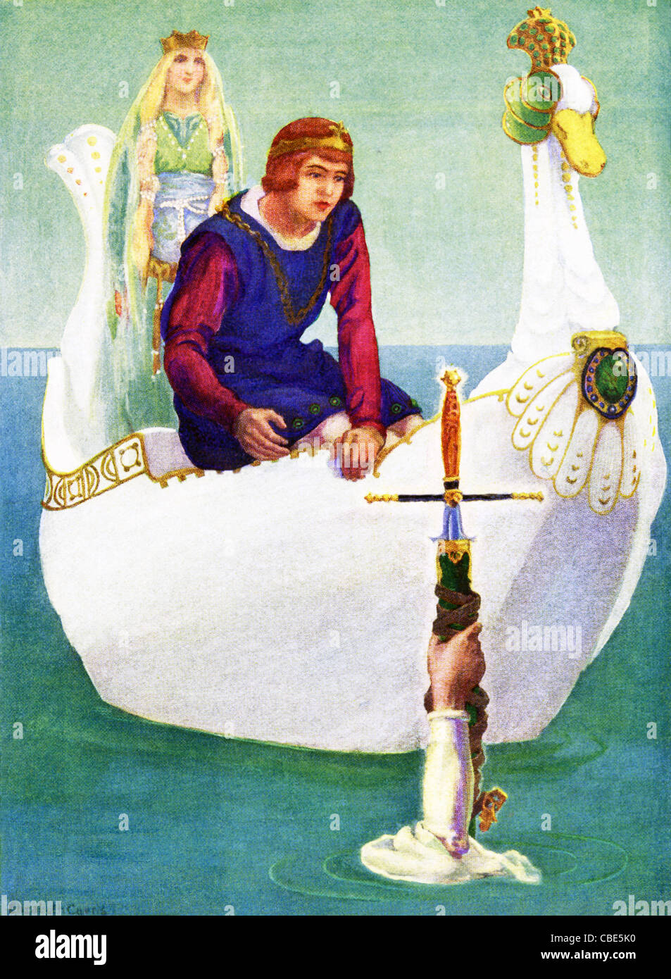 Legend said that King Arthur of Britain had his sword, known as Excalibur,  given to him by the Lady of the Lake. - Stock Image